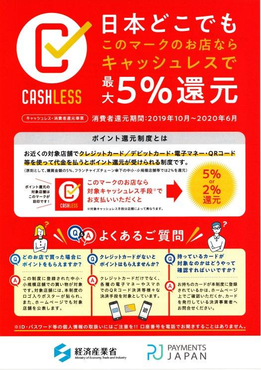 5%キャッシュレス消費者還元対象店舗