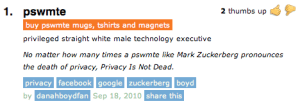 1. pswmte: privileged straight white male technology executive – No matter how many times a pswmte like Mark Zuckerberg pronounces the death of privacy, Privacy Is Not Dead.