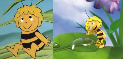 Zwei Bilder von Biene Maja, einmal eine Zeichnung aus dem alten Trickfilm, einmal eine Animation aus der neuen Serie, bei letzterem deutlich dünner