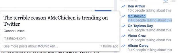 El famosísimo #McChicken de Facebook!