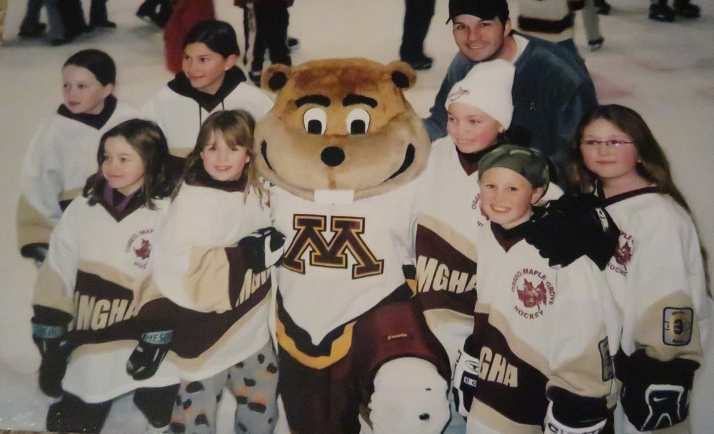 Time we went skating with the Women Minnesotan Golden Gophers, many of whom from that year went to the Olympics for the USA. I'm the one in the army bandanna.