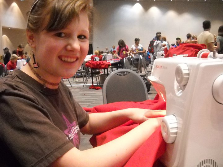 Making backpacks for kids in Africa. 2010.