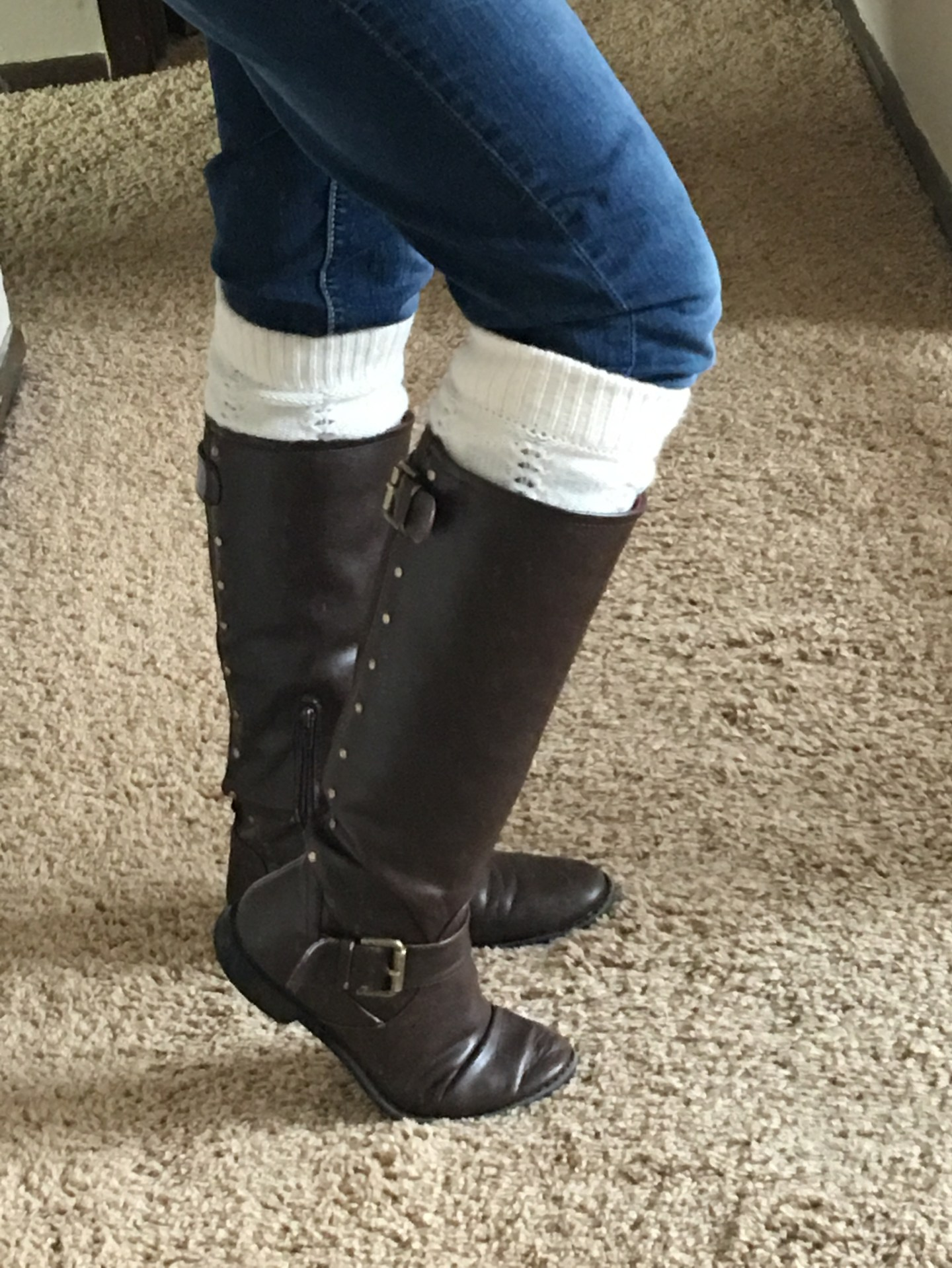 Boots from DSW, Leg warmers, and Blue jeans from Maurices