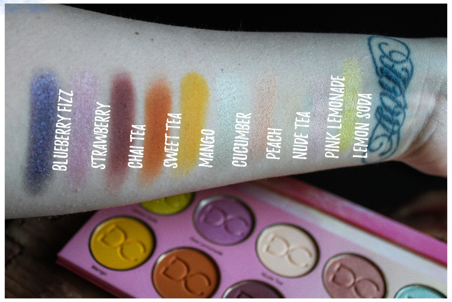 Dominique Cosmetics Lemonade Palette Swatches