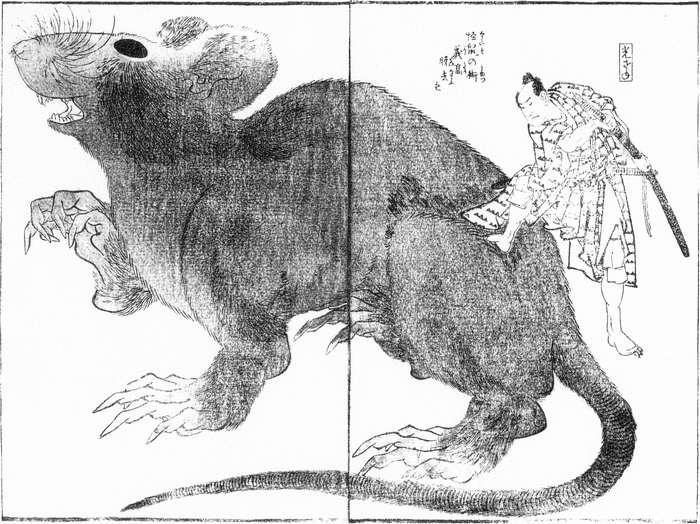 絵画:曲亭馬琴著・葛飾北斎画『頼豪阿闍梨恠鼠伝』。画面いっぱいのネズミのばけものとその半分以下の男性。