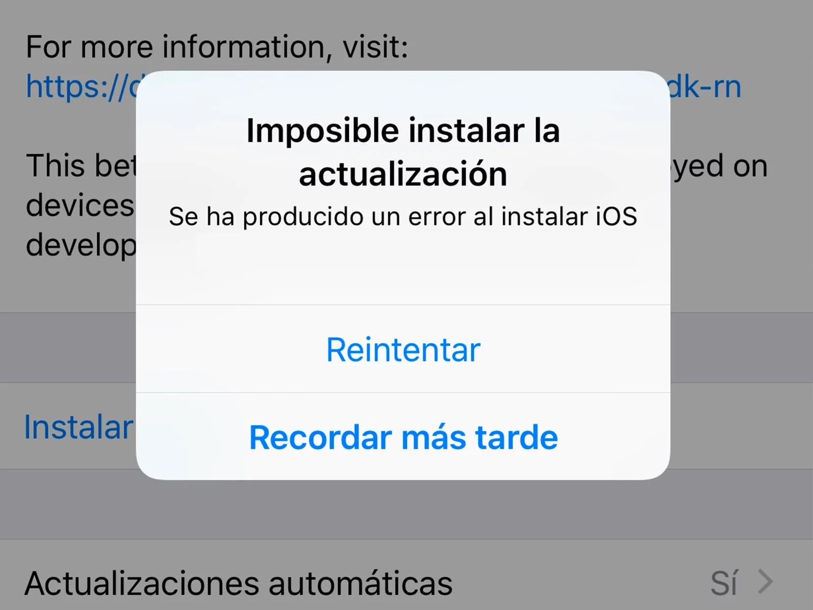 Solución al error 14 por actualizar iPhone