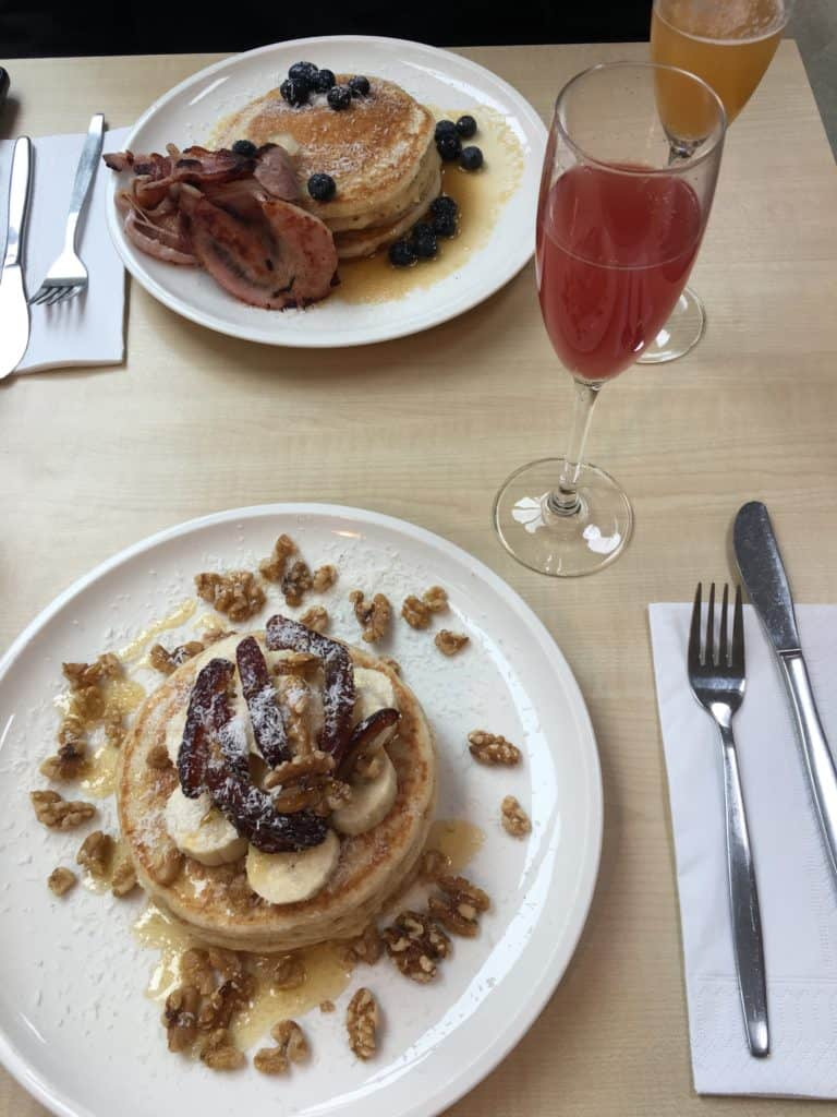 Moak Pancakes in Amsterdam with pineapple and watermelon mimosas.