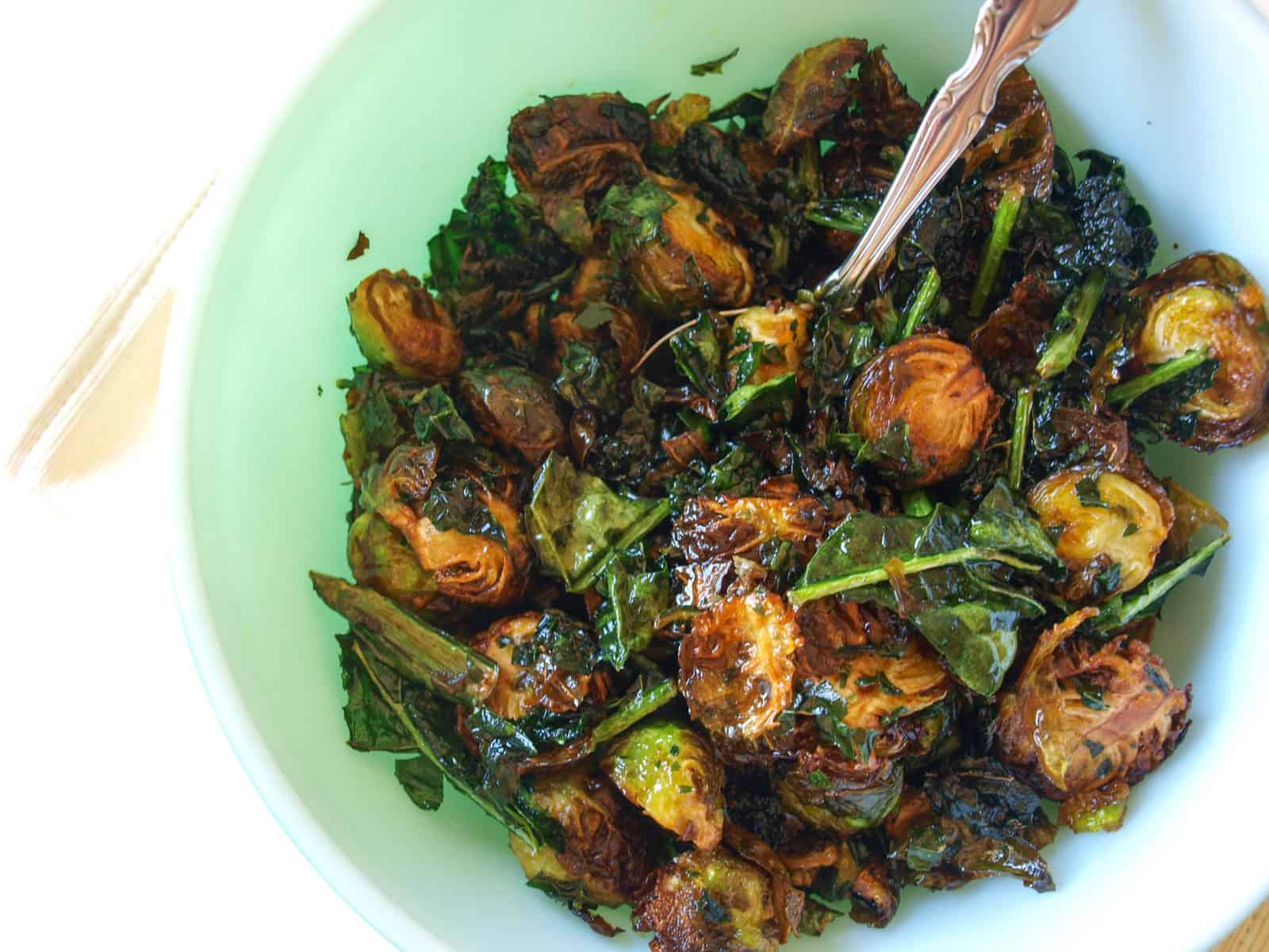 Maple Lime Fried Kale Amp Brussels Sprouts Recipe Mae S Menu