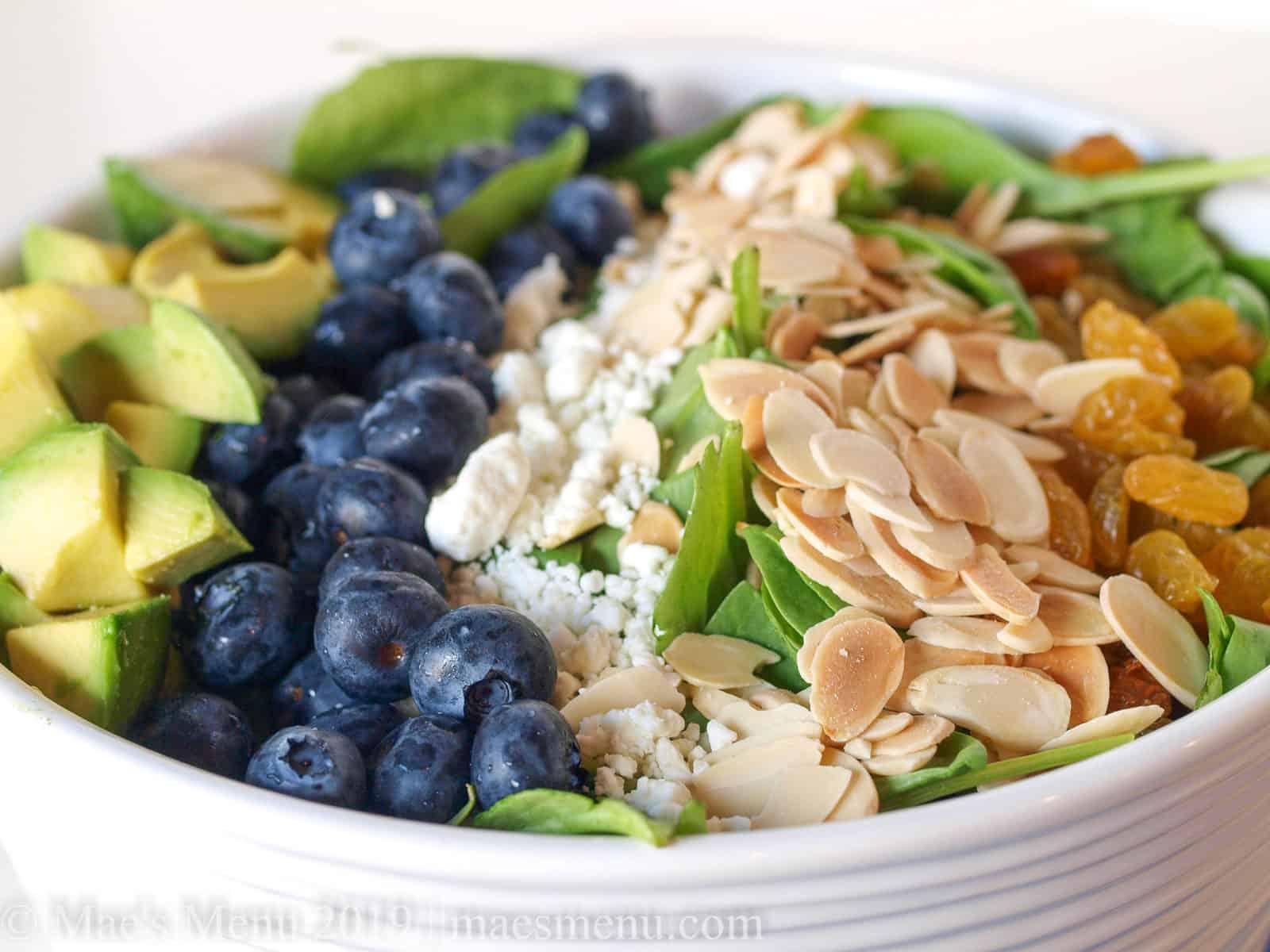 Up-close shot of Blueberry & Avocado Spinach Salad.