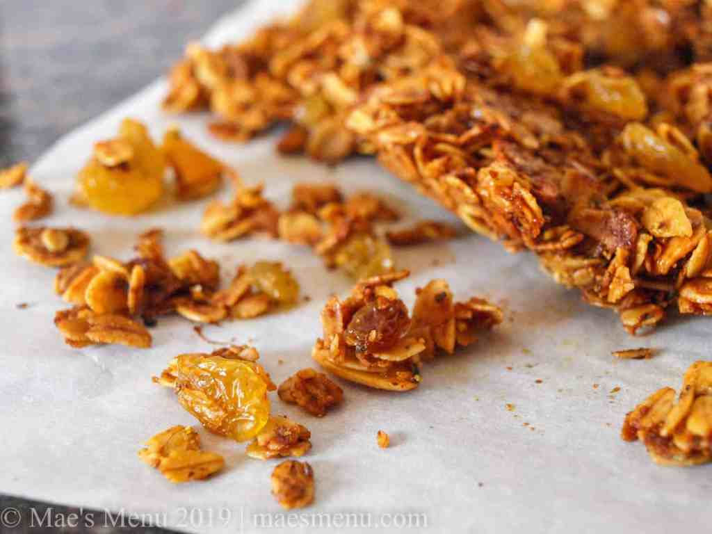 Up-close shot of crunchy turmeric granola.