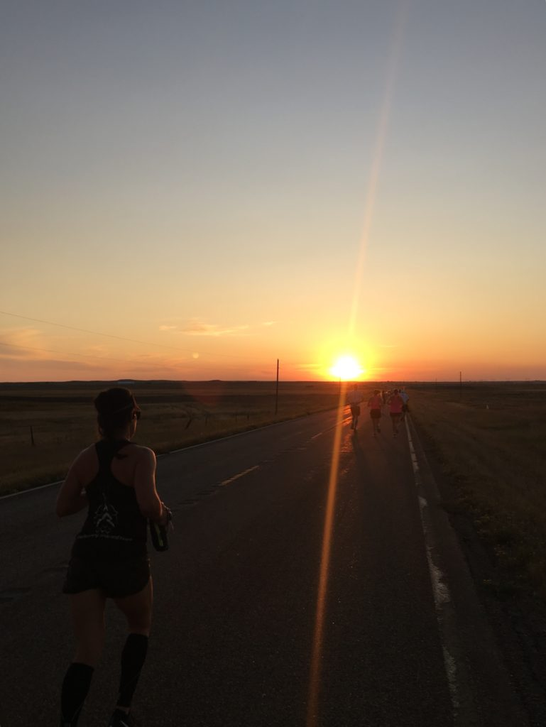 The sun rising at the start of the Montana Marathon.