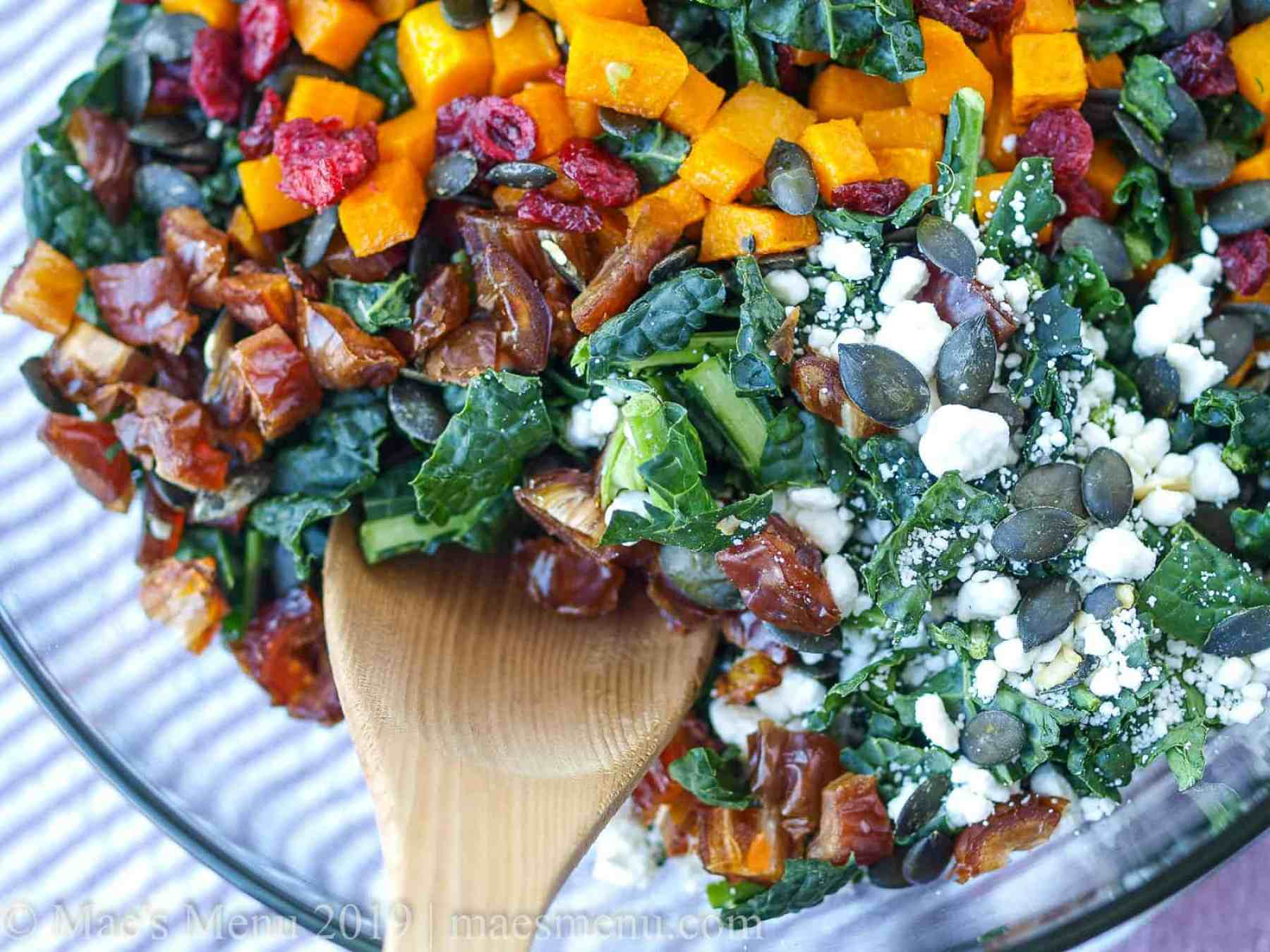 Up-close shot of lacinato kale with roasted butternut squash, the perfect holiday kale salad.