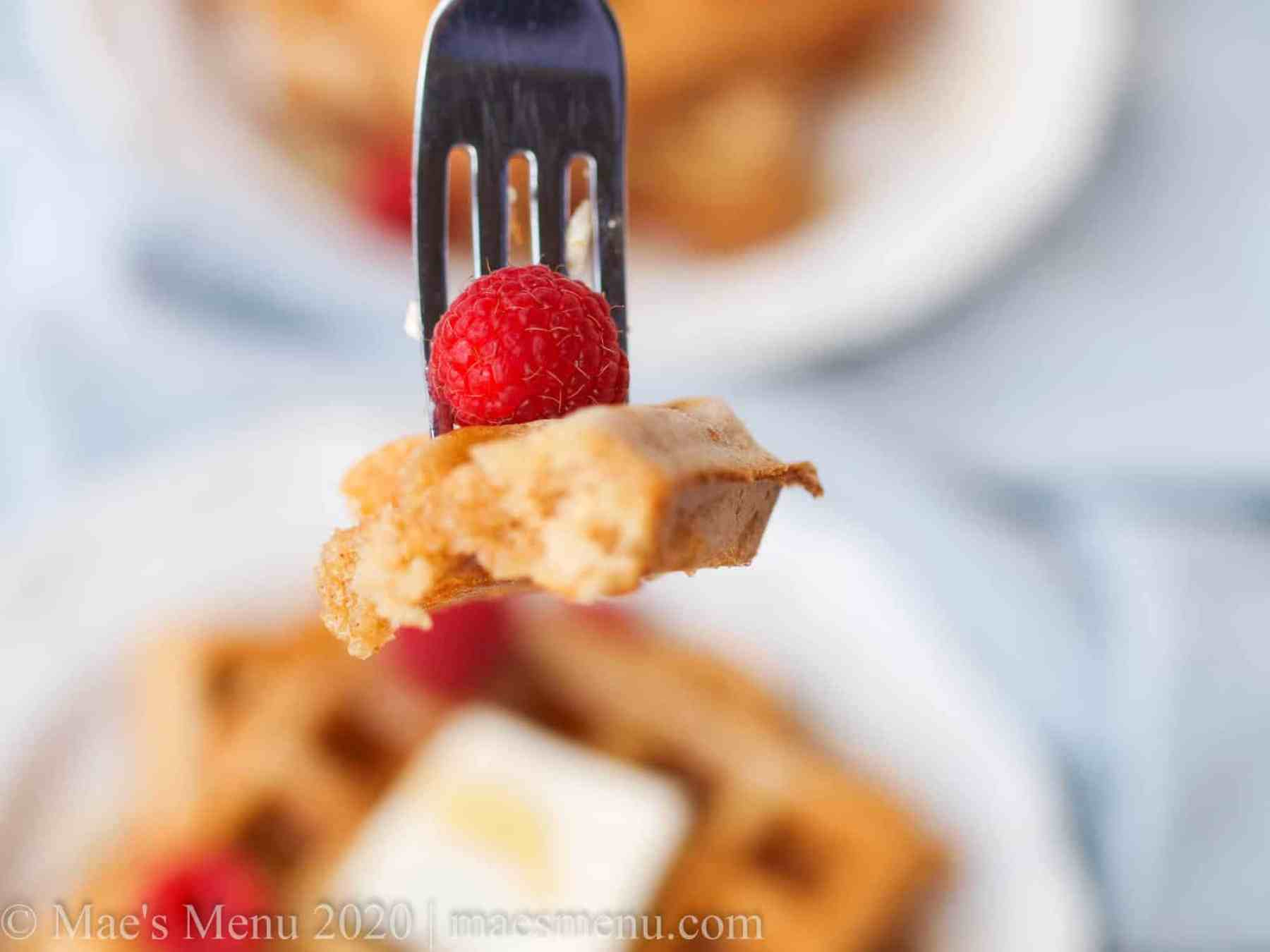A forkful of whole wheat fluffy waffles.