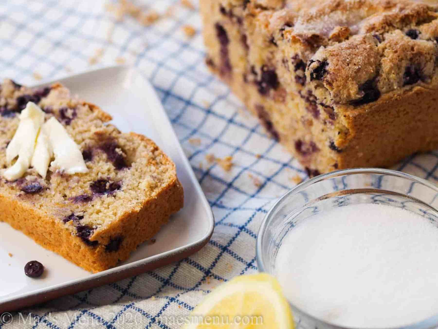 A piece of lemon blueberry muffin bread.