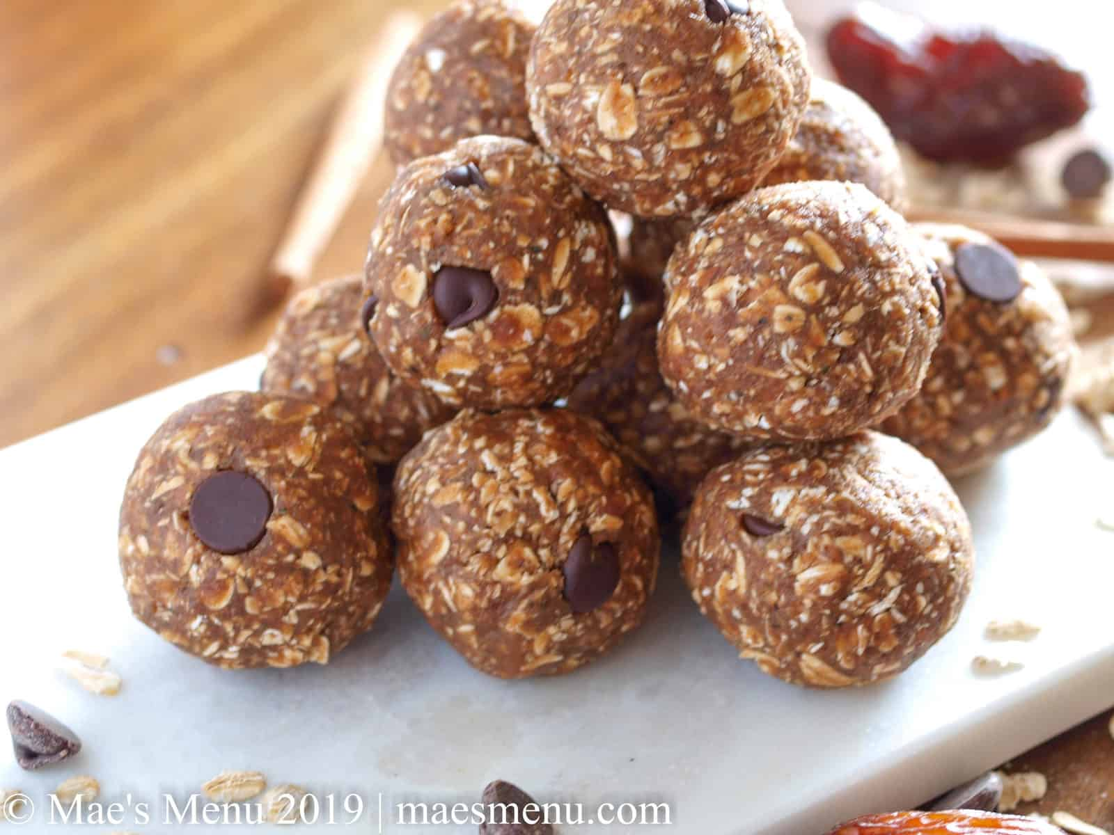 A stack of no-bake date energy balls.