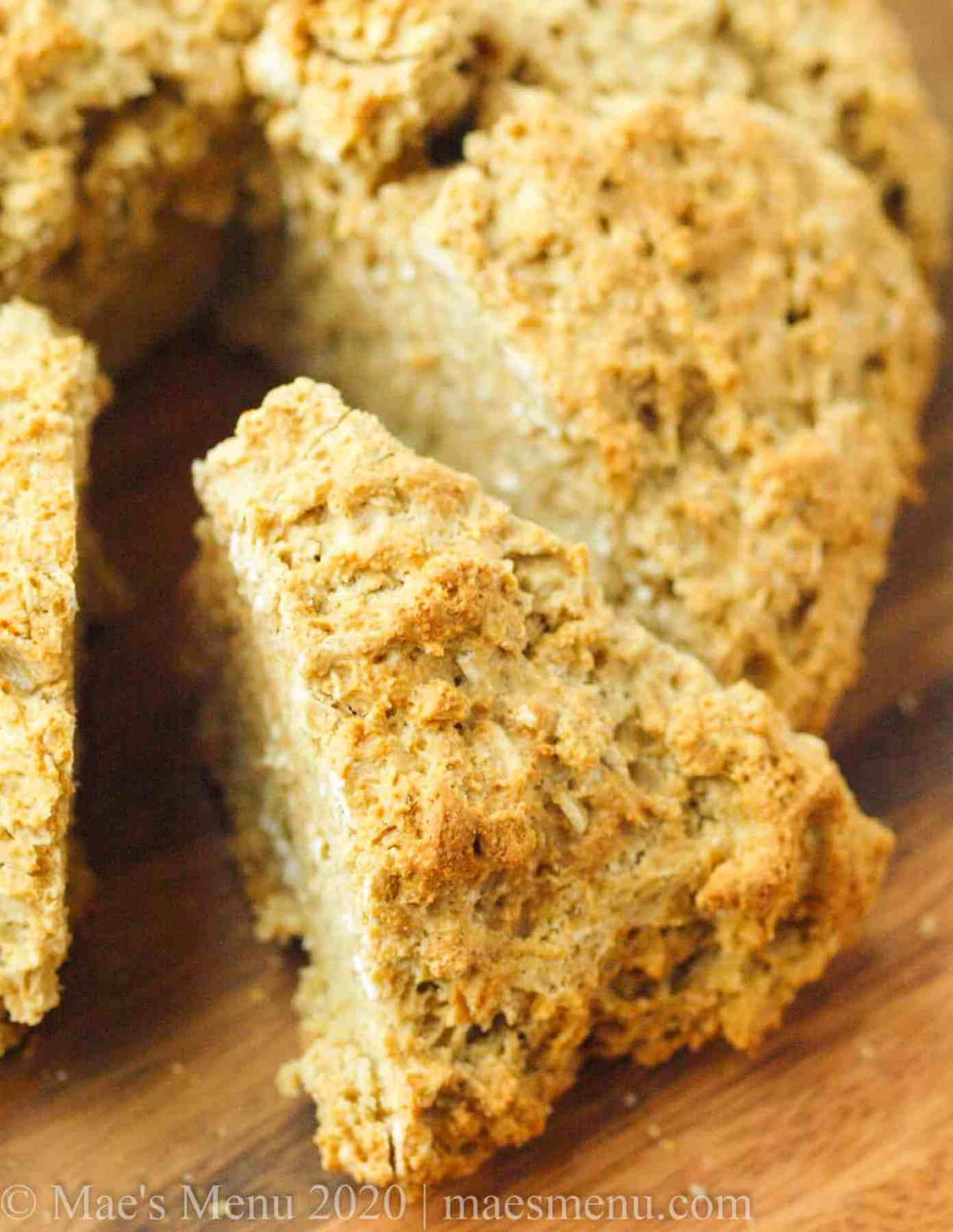 Upclose shot of a slice of oatmeal bread.