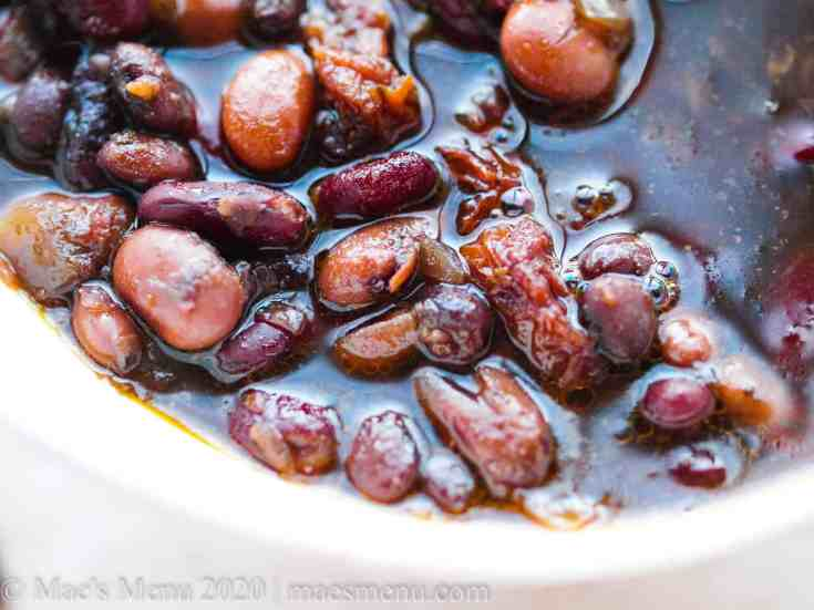an up-close shot of pressure cooker maple baked beans.