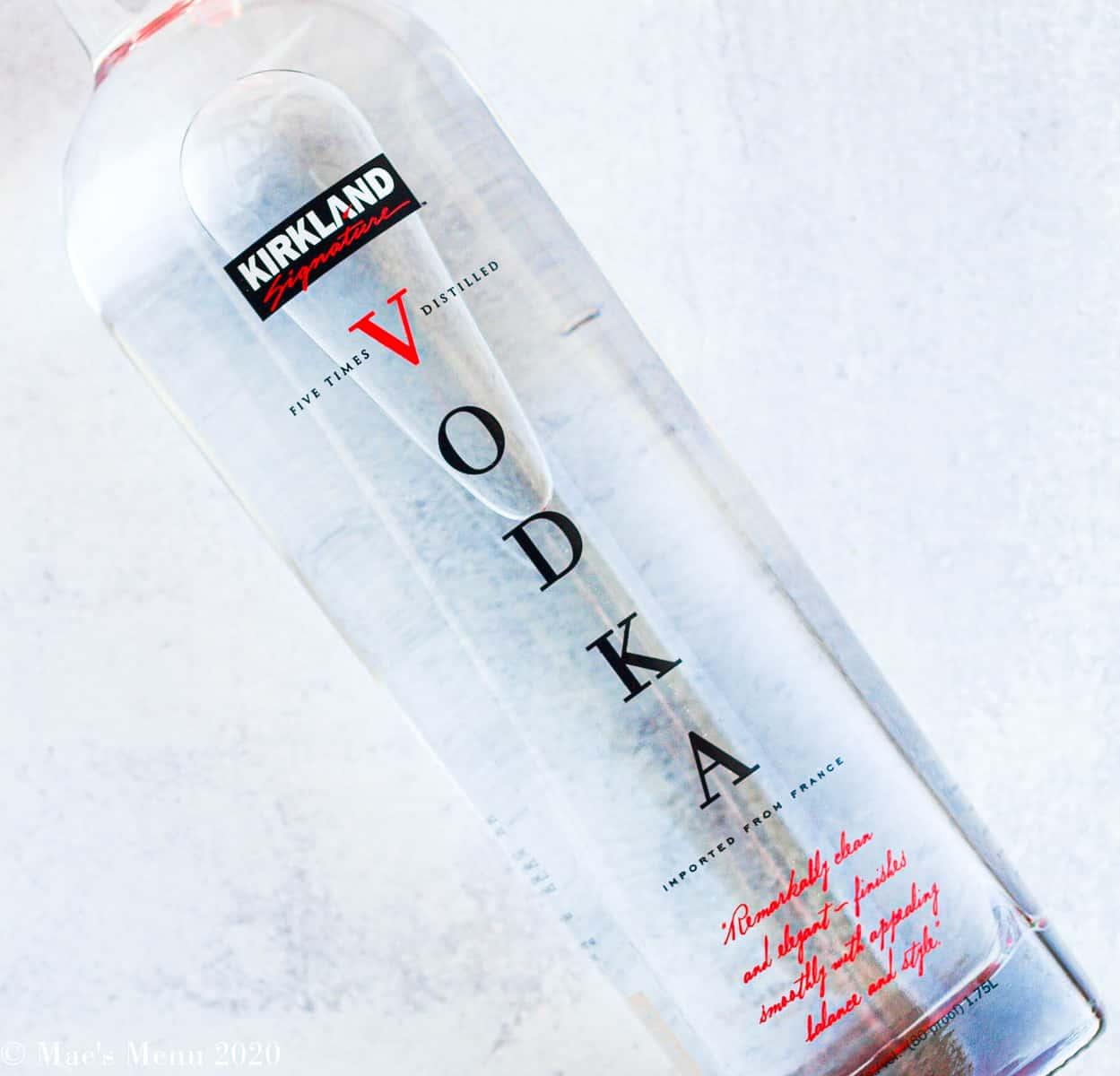 An overhead shot of a kirkland vodka bottle