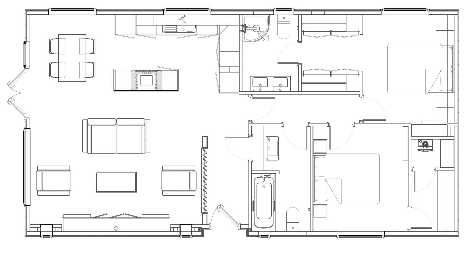 2 bed Bella Vista Lodge Floorplan