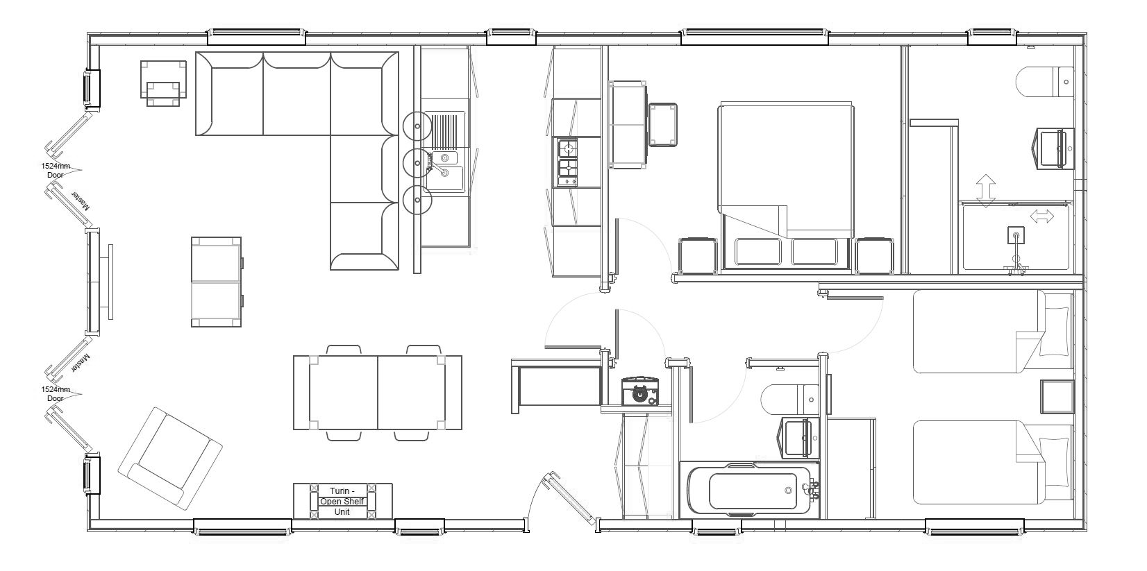 2 Bed Bowmoor Lodge Floorplan