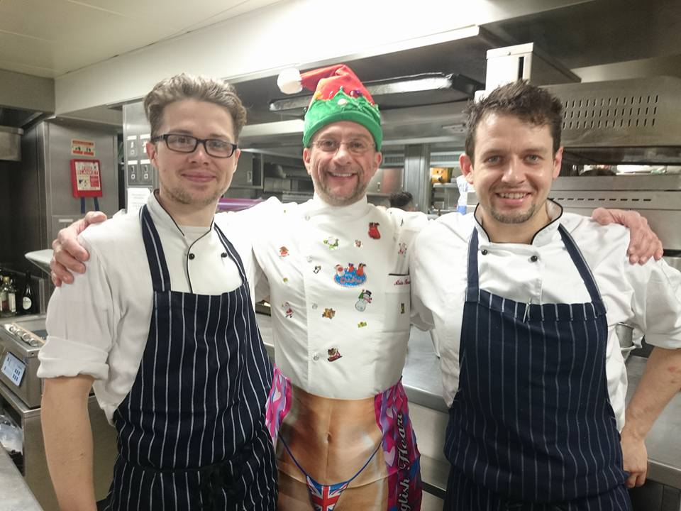 Dudley with Chef Alain and Phil Hickman at The Waterside-inn