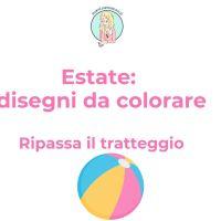 Estate: schede da colorare - pregrafismi per bambini: ripassa il tratteggio