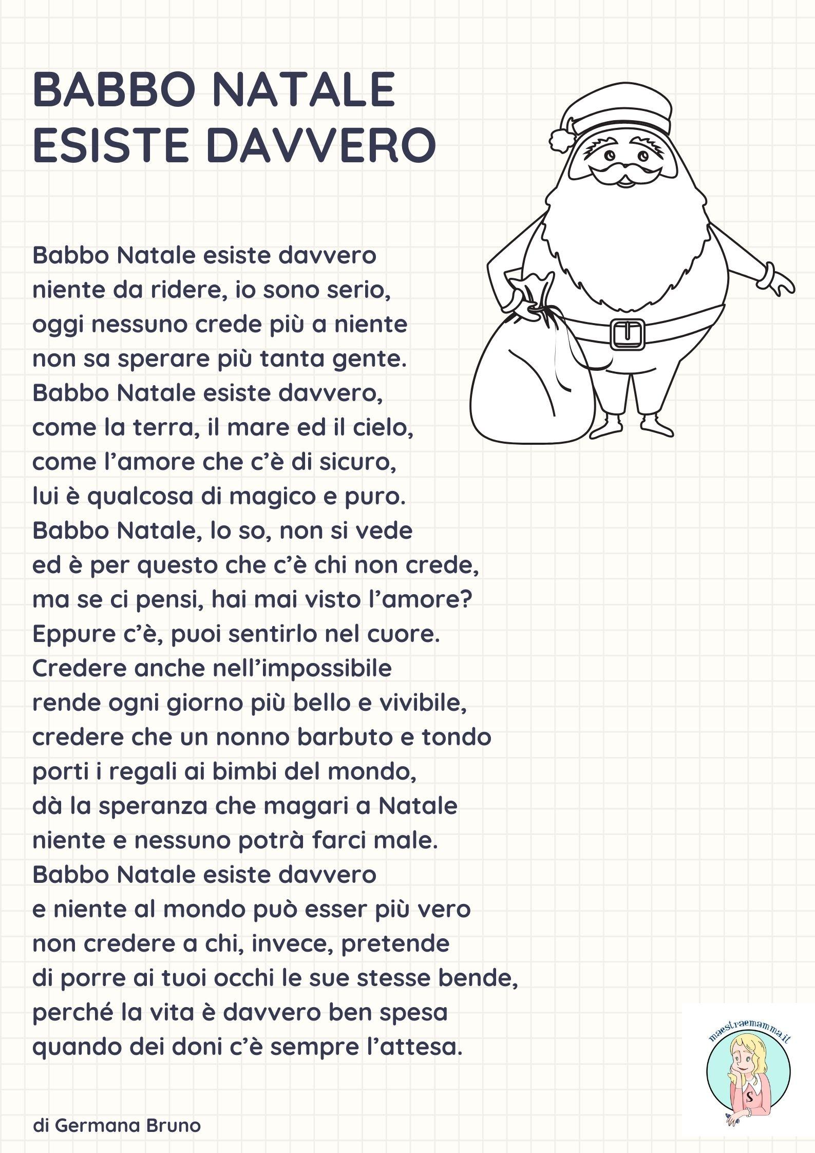 Poesie di natale per la scuola primaria. Poesia Di Natale Per Bambini Babbo Natale Esiste Davvero
