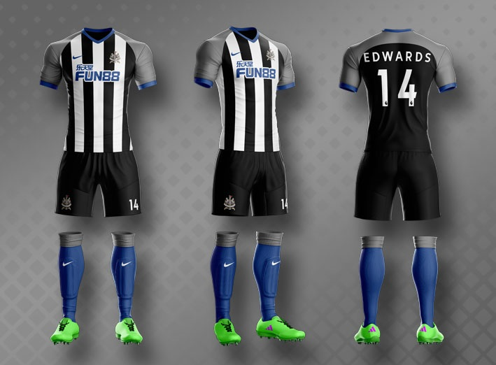 desain kostum futsal terbaik depan belakang newcastle