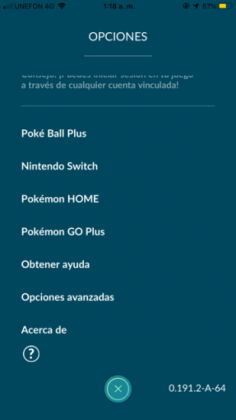 pokemon go home option