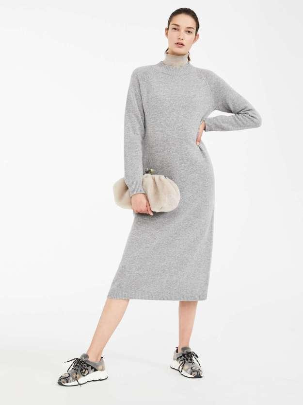 длинное шерстяное платье