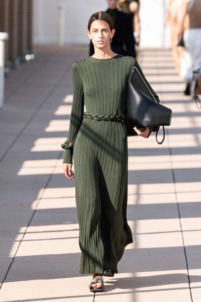 вязаное зеленое платье Bottega Veneta