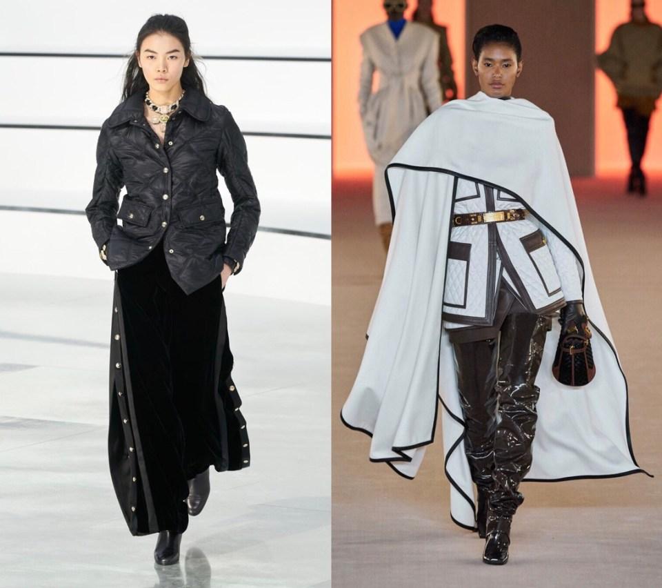 модные стеганые пальто Chanel Balmain