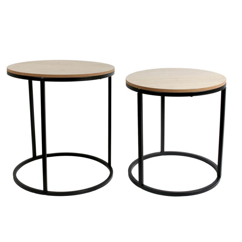 lot de 2 tables gigognes rondes avec plateau en bois personnalisable