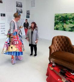 Artist Grayson Perry (left centre) visits MA Fine Art Summer Show at Chelsea College of Arts, London. (right centre) artist Rosemary Cronin. Photo credit Yehee Lee.