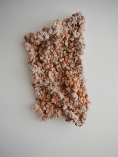 Scarlett Bowman, untitled, 2015, Recycled, Fibres, Pigment, Paint, Wire 150 x 85 x 20 cm, in 'Rubber Soul' at Soho Revue, London. Image courtesy the artist and Soho Revue.