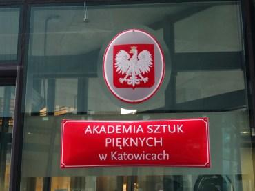The entrance to Academy of Fine Arts, Katowice, Poland. Photo credit Kelise Franclemont.