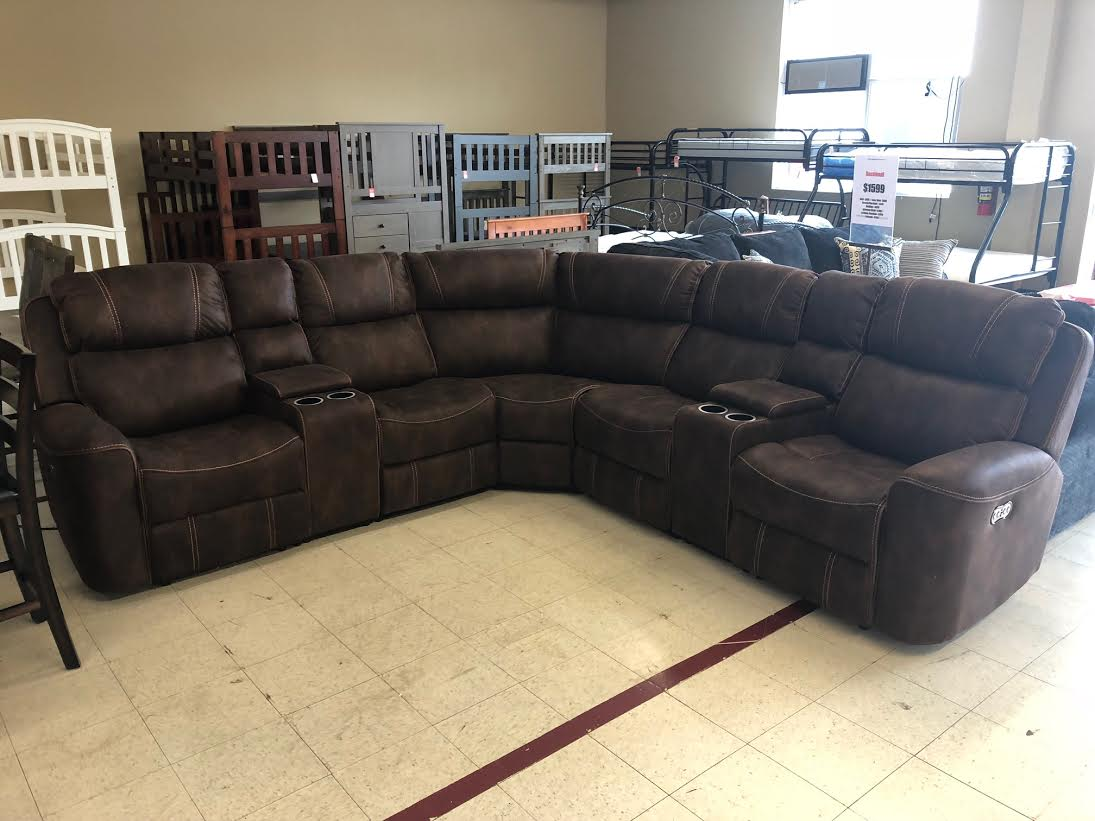Miraculous Simmons 59940 Expresso Dual Power Reclining Sectional Ibusinesslaw Wood Chair Design Ideas Ibusinesslaworg