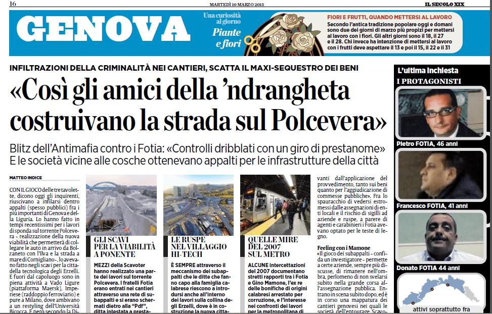La 'Ndrangheta in Val Polcevera