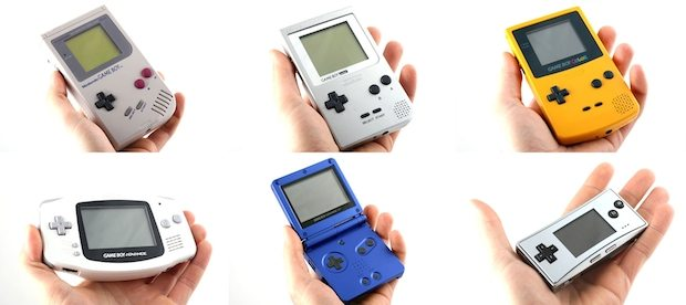 Die verschiedenen Game-Boy-Generationen. Von Links oben: Game Boy, Game Boy Pocket, Game Boy Color, Game Boy Advance, Game Boy Advance SP, Game Boy Micro (Bild: Wikipedia)