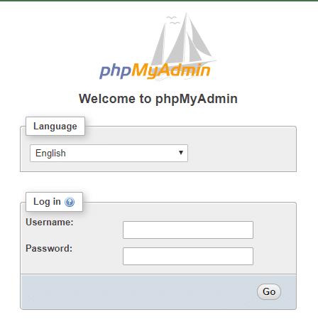 Login страницата на phpMyAdmin