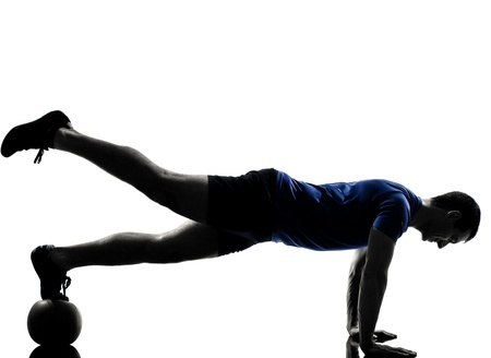 13339289 - man exercising workout fitness aerobics posture in silhouette studio isolated on white background