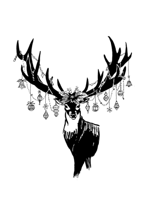 Drawing of a stag with Christmas ornaments on its antlers.