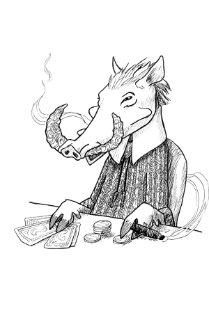 Ink drawing of a fancy warthog with inscribed teeth smoking cigar and playing poker