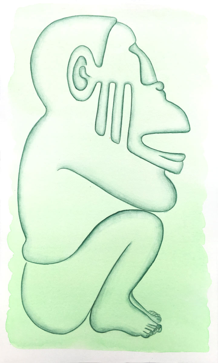 Aztec Monkey | 14 cm x 24 cm