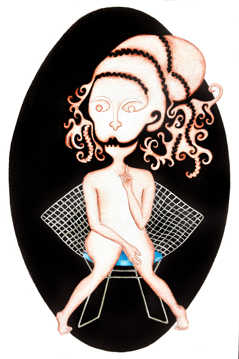Zodiaque - Vierge sur un fauteuil bertoya   30 x 20 cm