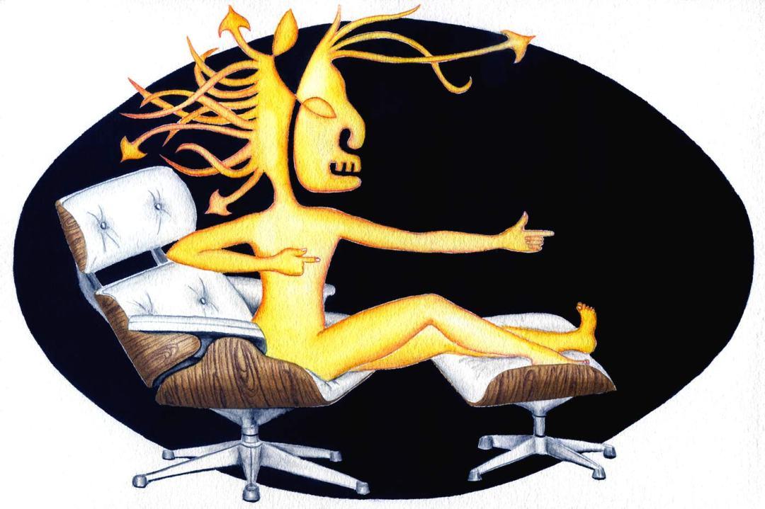 Sagittaire sur un fauteuil lounge de Eames