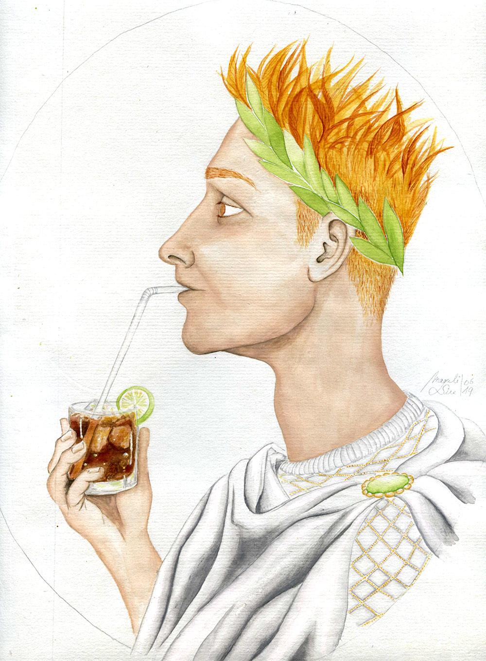 Octave et son Rome-Coca   29 x 23 cm