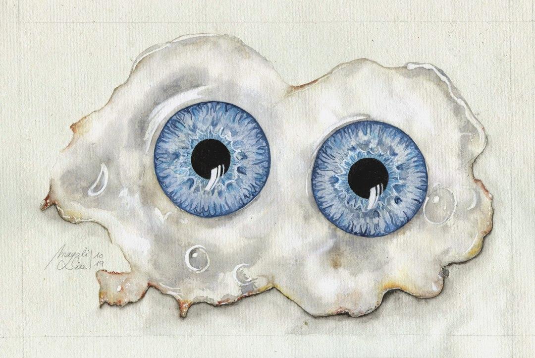 Les yeux sur le plat | 15 cm x 21 cm