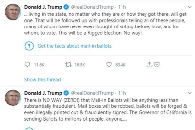 Trump, Twitter Feud on Fact-Checks Added to President's Tweets on Mail-in Voting