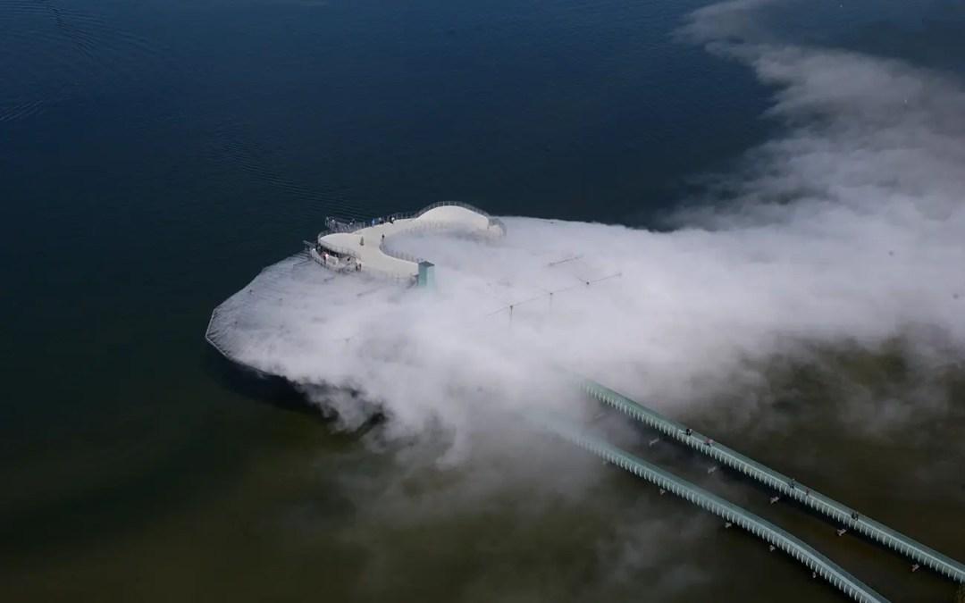 Blur Building. Arkitektur av vann